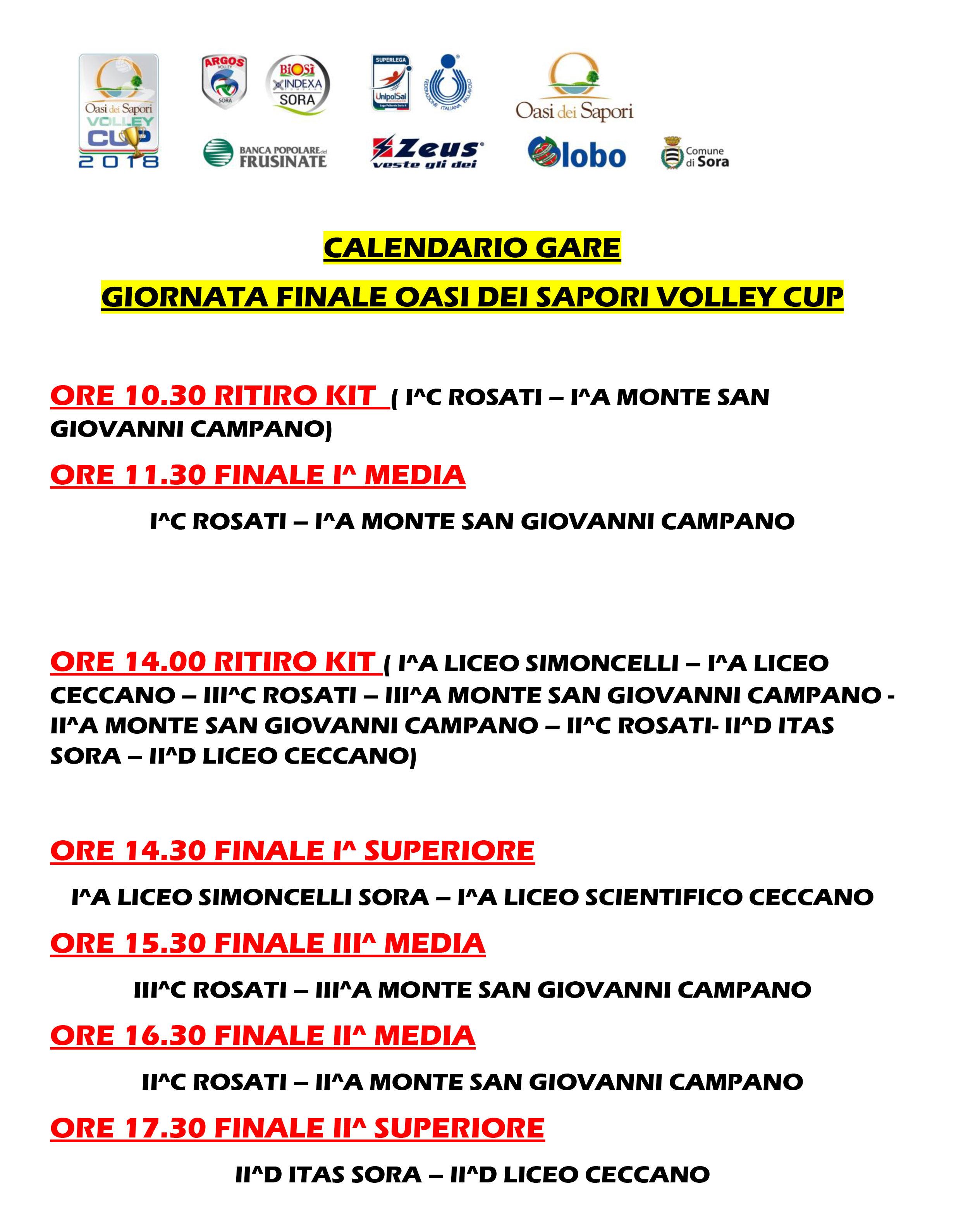 Globo Sora Calendario.Oasi Volley Cup Argos Volley